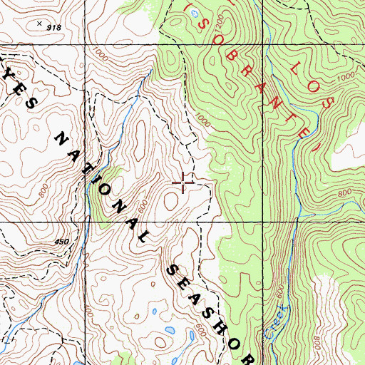 Topographic Map of Old Out Road Trail, CA