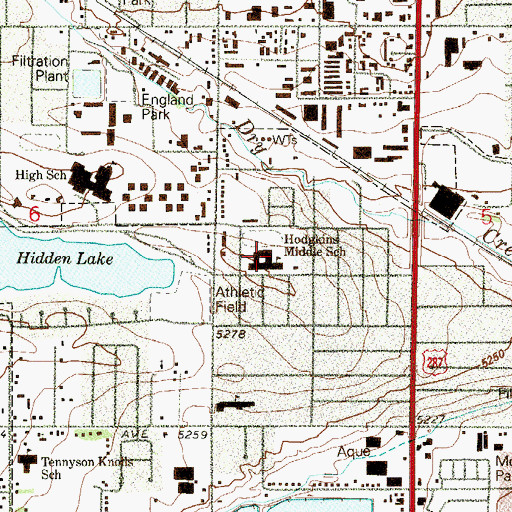 Topographic Map of Hodgkins Elementary School, CO