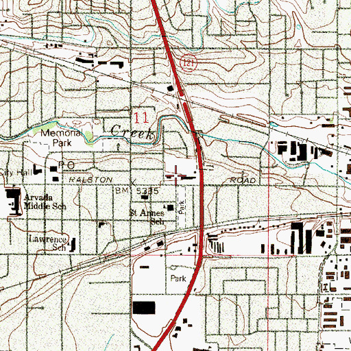 Topographic Map of East Arvada Junior High School (historical), CO