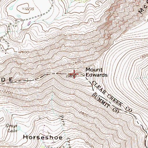 Topographic Map of Mount Edwards, CO