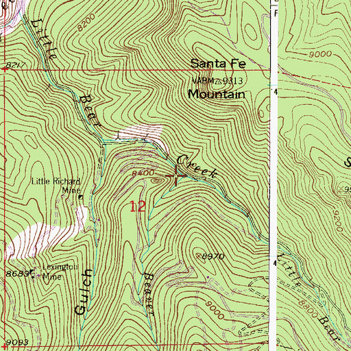 Topographic Map of Beaver Brook, CO