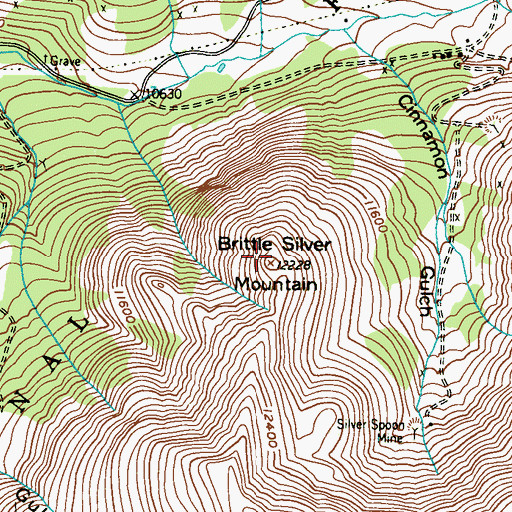 Topographic Map of Brittle Silver Mountain, CO