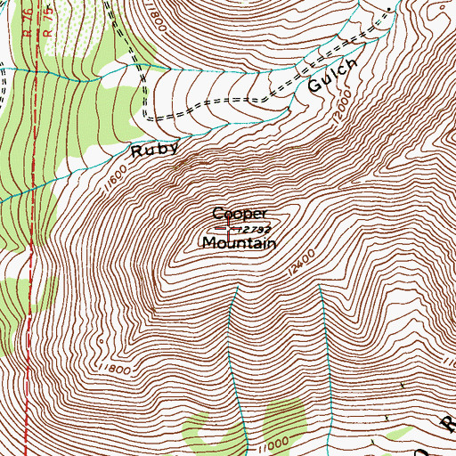 Topographic Map of Cooper Mountain, CO