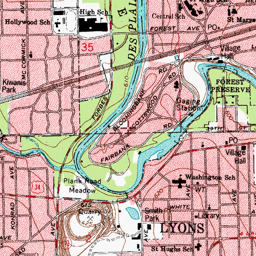 Topographic Map of Avery Coonley House, IL