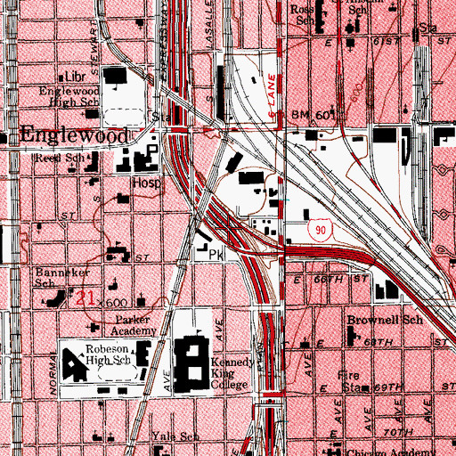 Topographic Map of Interchange 59A, IL