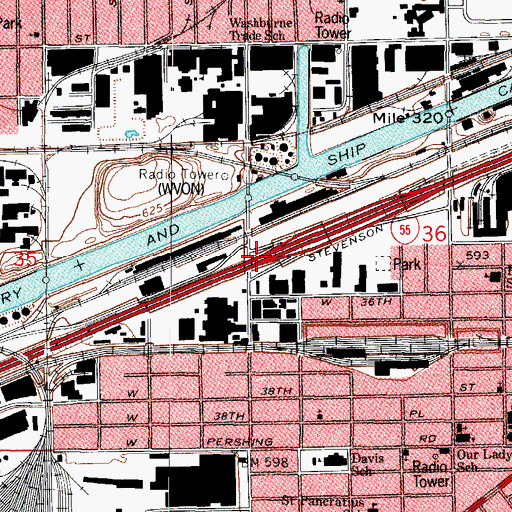 Topographic Map of Interchange 288, IL