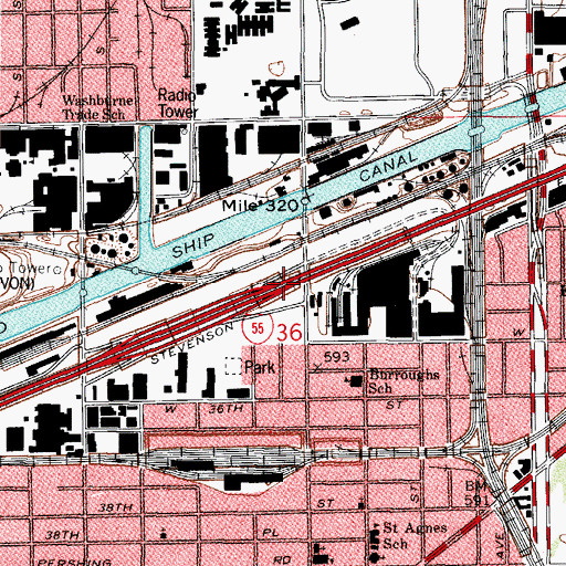 Topographic Map of Interchange 289, IL