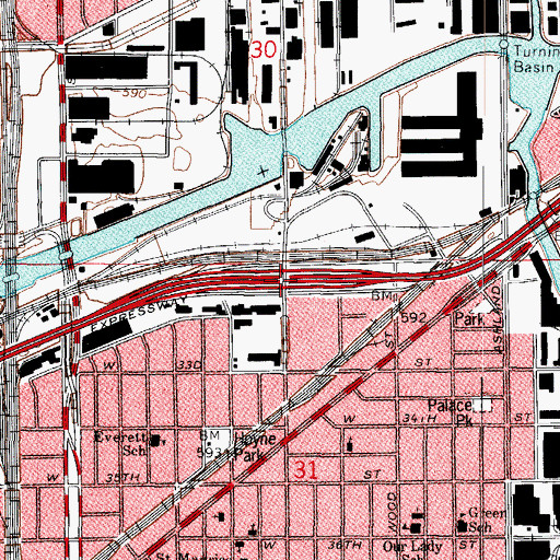 Topographic Map of Interchange 290, IL