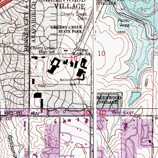 Topographic Map of Belleview Elementary School, CO