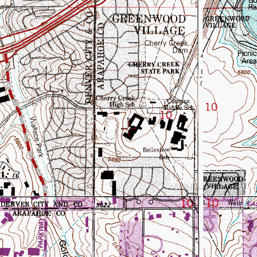 Topographic Map of Cherry Creek High School, CO