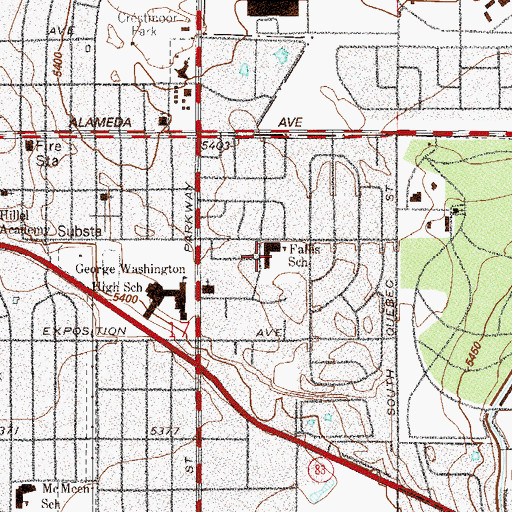 Topographic Map of Denver Green School, CO