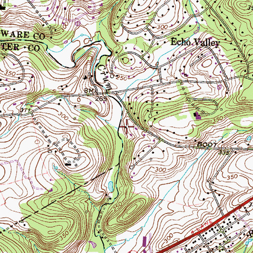 Topographic Map of Bartram Run, PA