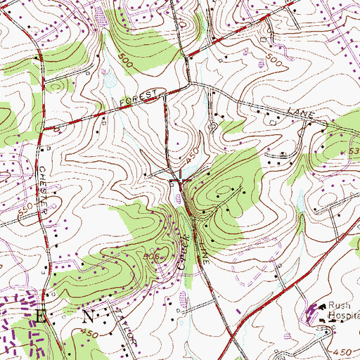 Topographic Map of East Branch Ridley Creek, PA