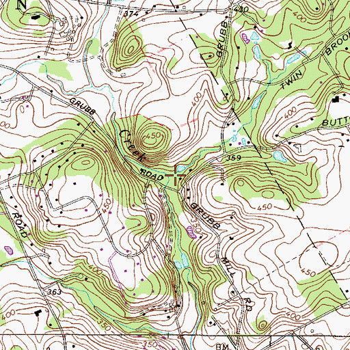 Topographic Map of Grubb Mill Run, PA