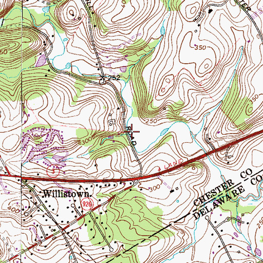 Topographic Map of Hillside Run, PA