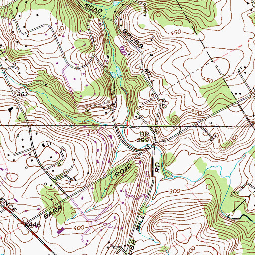 Topographic Map of West Branch Crum Creek, PA