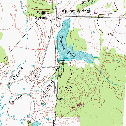 Topographic Map of Greenes Lake Dam, TX