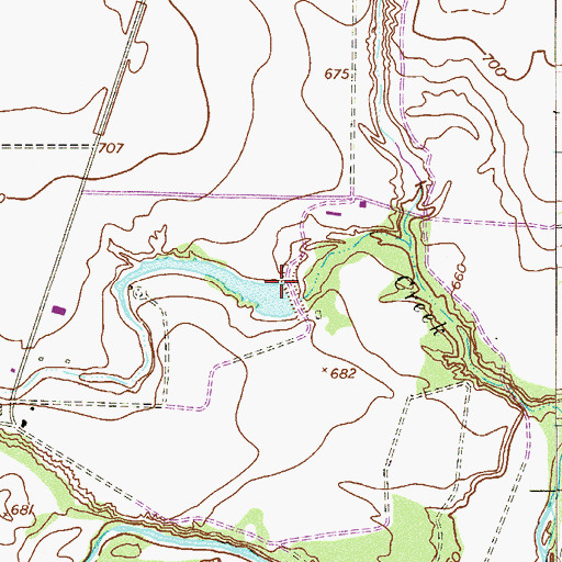 Topographic Map of Alamo Angus Ranch Lake Dam, TX