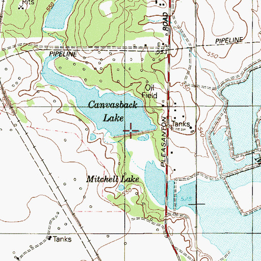 Topographic Map of Canvasback Lake Dam, TX