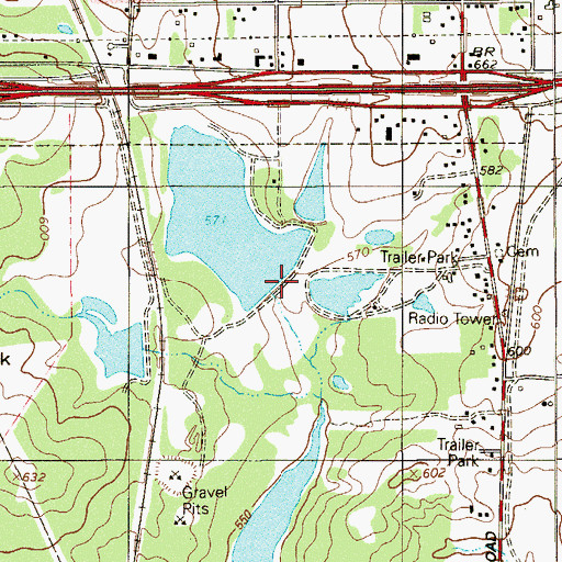 Topographic Map of Ballasetal Lake Dam, TX