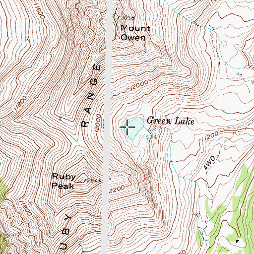 Topographic Map of Green Lake, CO