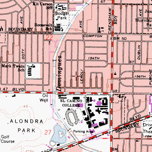 Topographic Map of Alondra Park, CA