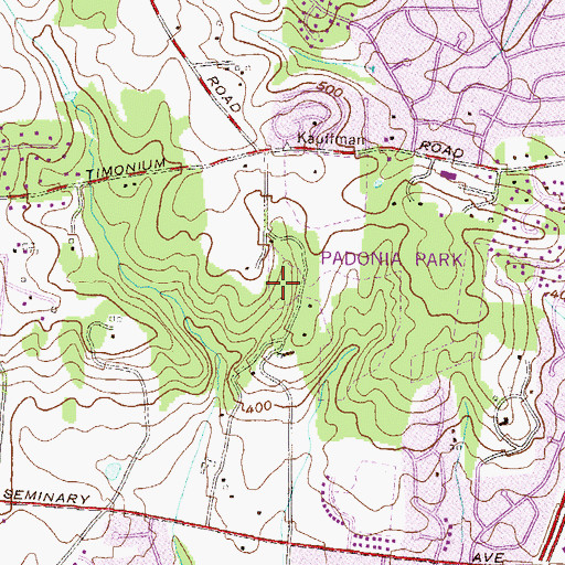 Topographic Map of Mays Chapel, MD