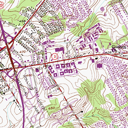 Topographic Map of West Goshen, PA
