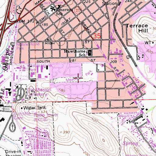 Topographic Map of Meadow Park, CA