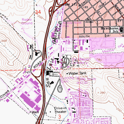Topographic Map of Old Mission Cemetery, CA