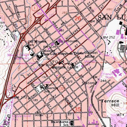 Topographic Map of First Baptist Church, CA