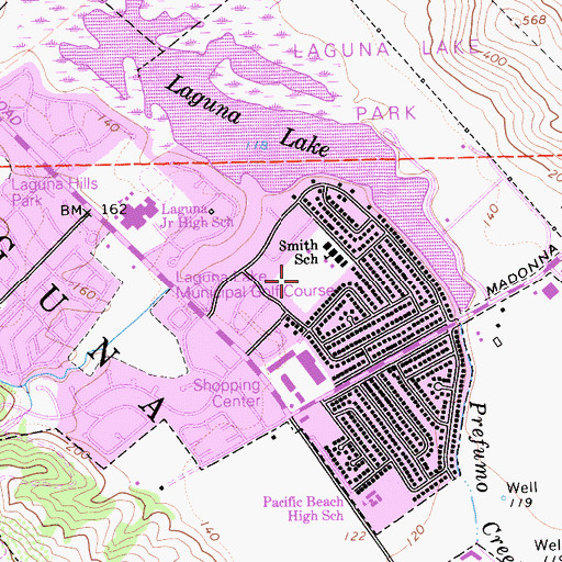 Topographic Map of Smith Park, CA