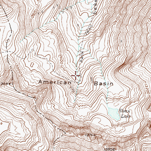 Topographic Map of American Basin, CO