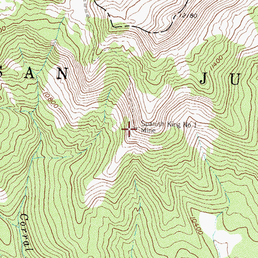 Topographic Map of Spanish King Number 1 Mine, CO