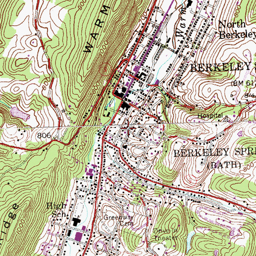 Topographic Map of Town of Bath (Berkeley Springs), WV