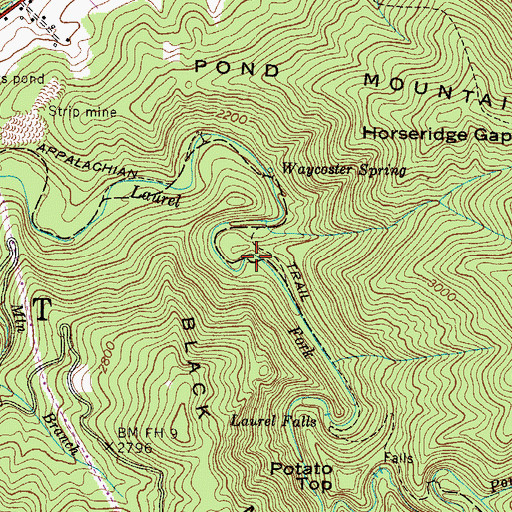 Topographic Map of Laurel Fork Gorge, TN