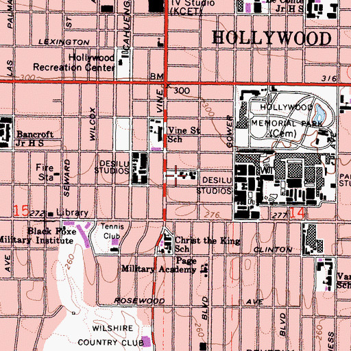 Topographic Map of Los Angeles Orphans Home, CA