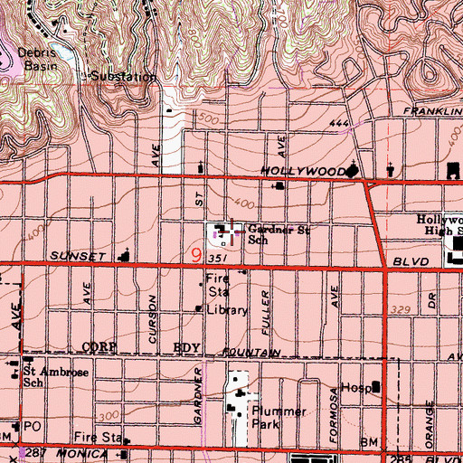 Topographic Map of The Hollywood Chapel, CA