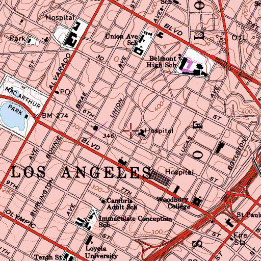 Topographic Map of Central Receiving Hospital (historical), CA