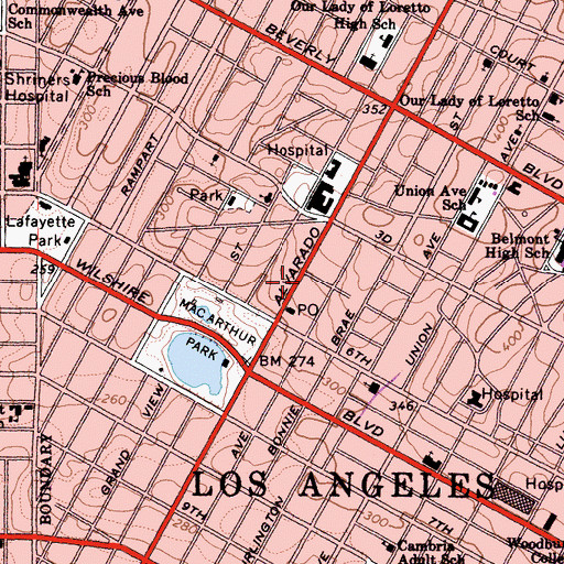 Topographic Map of Wilshire Terrace Professional Center, CA