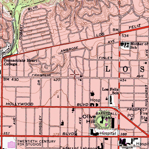 Topographic Map of Los Feliz Methodist Church, CA