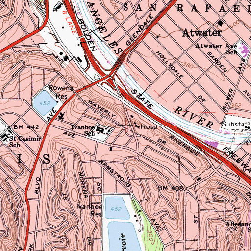 Topographic Map of Monte Sano Hospital, CA