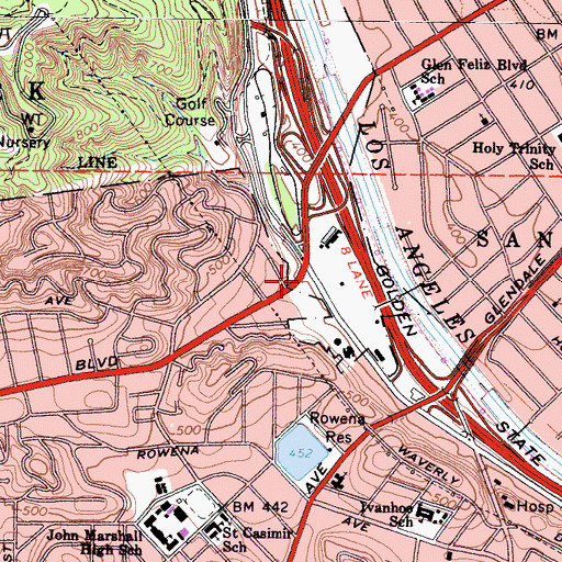 Topographic Map of William Mulholland Memorial, CA