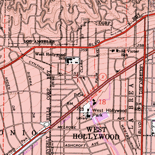 Topographic Map of West Hollywood Community Church, CA