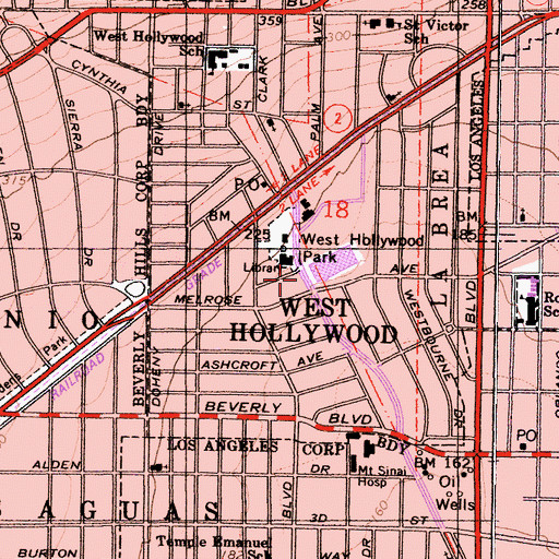 Topographic Map of West Hollywood County Building, CA
