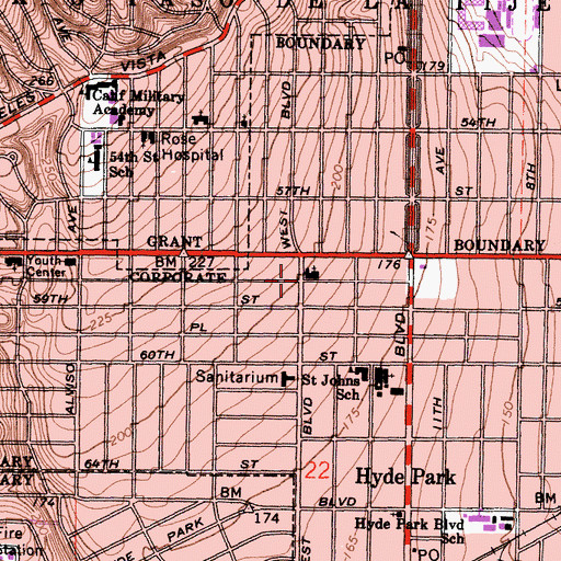 Topographic Map of First Church of God, CA