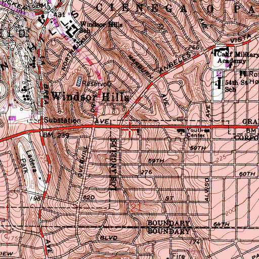 Topographic Map of Mount Calvary Episcopal Church, CA