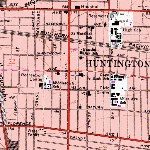 Topographic Map of First United Methodist Church of Huntington Park, CA