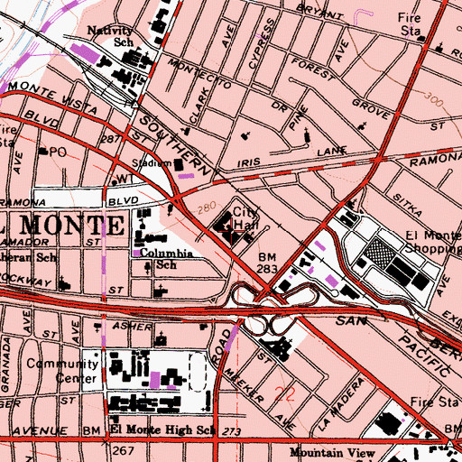 Topographic Map of First Baptist Church of El Monte, CA