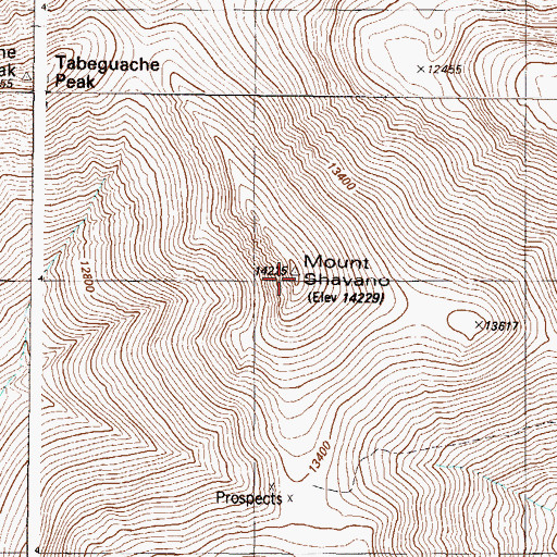 Topographic Map of Mount Shavano, CO